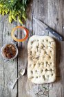 Focaccia with rosemary and dried tomatoes — Stock Photo