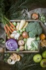 Top view of crate of vegetables with apples and clementines — Stock Photo