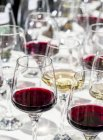 Vasos de vino tinto y blanco - foto de stock
