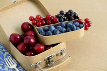 Cherries with blueberries in small suitcase — Stock Photo