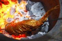 Vista del primo piano di un Tandoori pesce su uno spiedo sulla brace incandescente — Foto stock