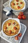 Clafouti with cherry tomatoes — Stock Photo