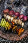 Vegetables being grilled to make a dip on wire rack — Stock Photo