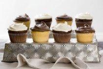 Baunilha e chocolate cupcakes — Fotografia de Stock