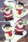 Крупним планом вид шоколад Сніговики та Дідів Морозів — стокове фото