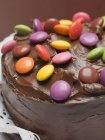 Chocolate cake with beans — Stock Photo