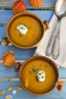 Pumpkin soup with chives — Stock Photo