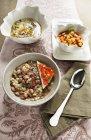 Feijão borlotti e sopa de cevada pérola — Fotografia de Stock