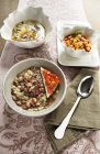 Borlotti bean and pearl barley soup — Stock Photo