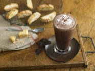 Glass of Hot chocolate with biscotti — Stock Photo
