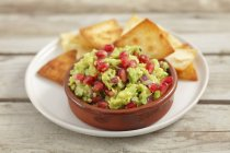 Pomegranate seeds and chips — Stock Photo