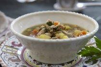 Куриный суп с ячменем и овощи в белый шар — стоковое фото