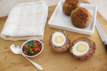 Scotch eggs with pepper — Stock Photo