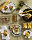 Top view of assorted seafood Amuse-bouches with pastries — Stock Photo