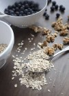 Muesli ingredients and spoon — Stock Photo