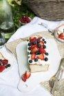 Pastel de Ángel con bayas frescas - foto de stock