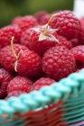 Frambuesas frescas en cesta - foto de stock