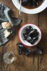 Soupe de moules à la tomate — Photo de stock