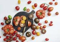 Variedades sortidas de tomate, um corte ao meio sobre a superfície branca com placa de desbastamento — Fotografia de Stock