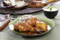 Pollo fritto con riso — Foto stock