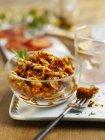 Pasta salad with chorizo — Stock Photo