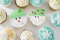Cupcakes décorés avec le thème de l'hiver — Photo de stock