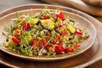 Insalata di lenticchie con peperoni grigliati — Foto stock