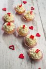 Cupcakes decorated with buttercream — Stock Photo