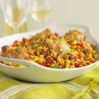 Chicken with rice and chorizo — Stock Photo