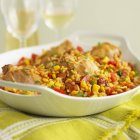Huhn mit Reis und chorizo — Stockfoto