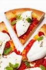 Pizza affettata con la mozzarella — Foto stock