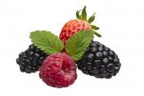 Frambuesas con moras y fresas - foto de stock
