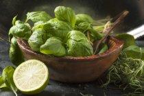 Wooden bowl of fresh basil — Stock Photo