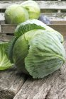 White cabbages in wooden crate — Stock Photo