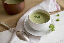 Crema di broccoli zuppa in ciotola bianca sopra asciugamano con cucchiaio — Foto stock