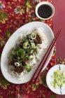 Anatra di Teriyaki con spaghetti di riso — Foto stock