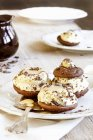 Closeup view of Whoopie pies with egg liqueur — Stock Photo