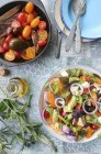 Greek salad with cheese — Stock Photo