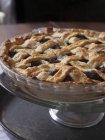 Whole mulberry pie with lattice crust — Stock Photo