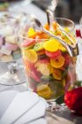 Closeup view of colorful rolled gummy sweets in glass dish — Stock Photo