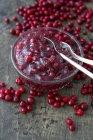 Primo piano vista della salsa di mirtilli rossi in una ciotola di vetro — Foto stock
