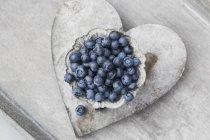 Bleuets frais dans un bol en métal — Photo de stock