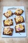 Pumpernickel bread with tuna paste — Stock Photo