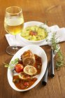 Pork roulade with  gratin — Stock Photo