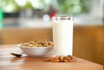 Glass of almond milk — Stock Photo