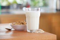 Glass of oat milk — Stock Photo