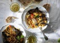 Pasata di spaghetti con le cozze — Foto stock