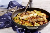 Spiced catfish with fried potatoes on pan over towel — Stock Photo