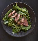 Wild lettuce with peppered steak — Stock Photo