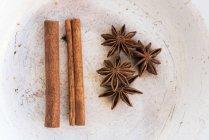 Bastoncini di cannella e anice di stella — Foto stock